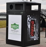 Outdoor Trash/Recycle Bin, Square, Solid Body with Advertising Frames, 64 Gallon - HS64-ADVERT