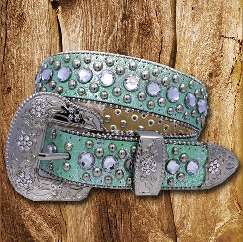 LITTLE GIRLS TEAL WESTERN BELT