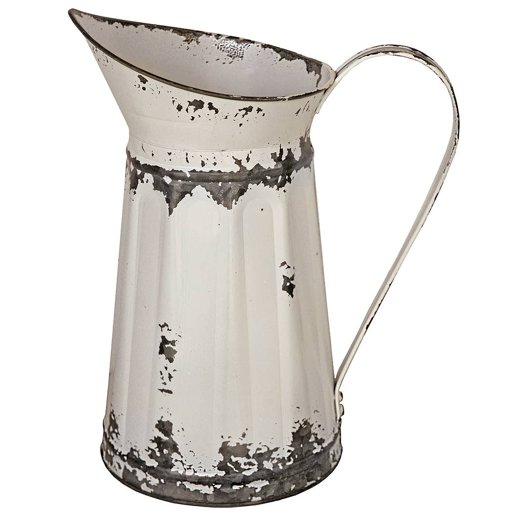 Tin Watering Pitcher - White