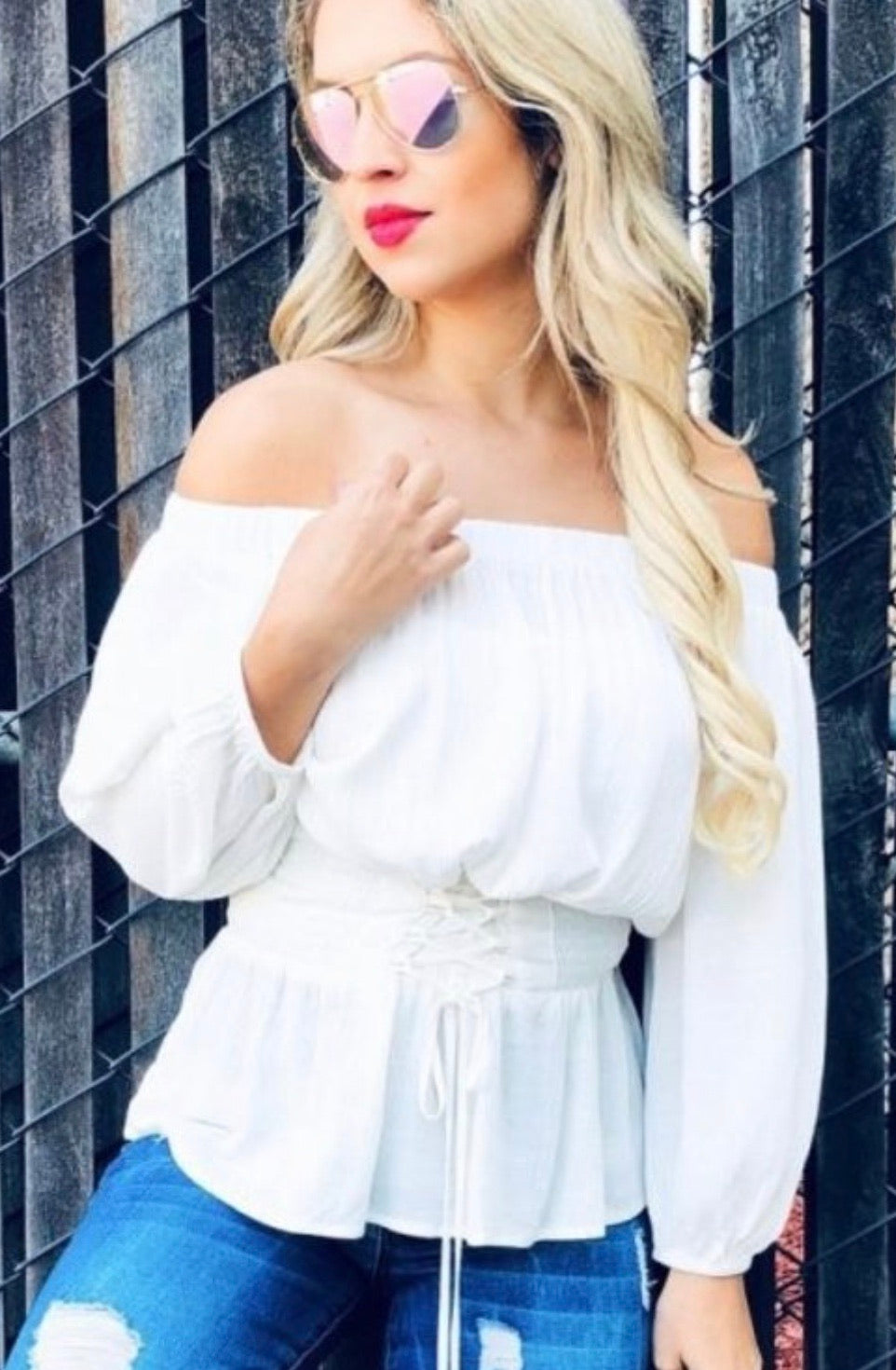 Lace up off the shoulder Ivory