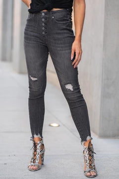 Black Button Jeans