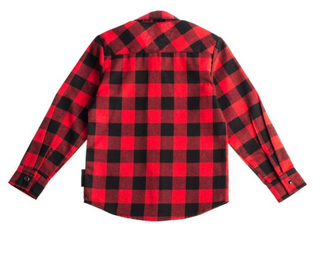 Red & Black Plaid Knuckleheads Long Sleeve Rockabilly Shirt