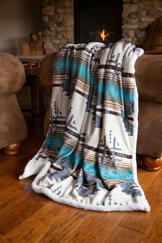 Lone Mountain Plush Throw