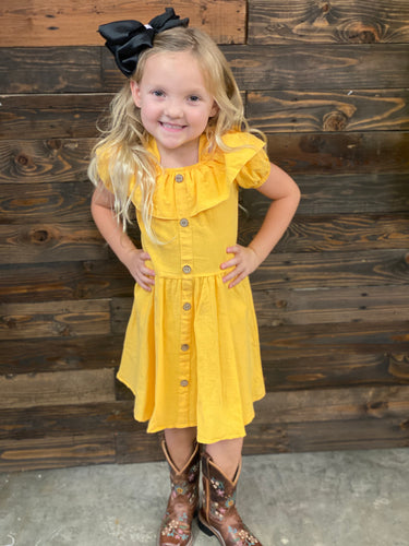 Kids yellow off shoulder dress