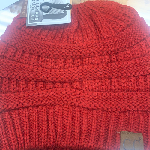 Adults red messy bun beanie