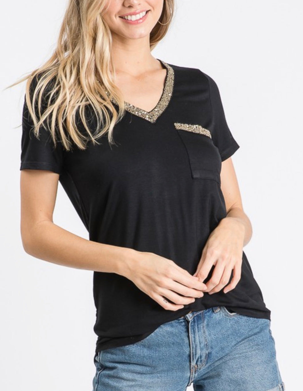 V NECK POCKET TOP