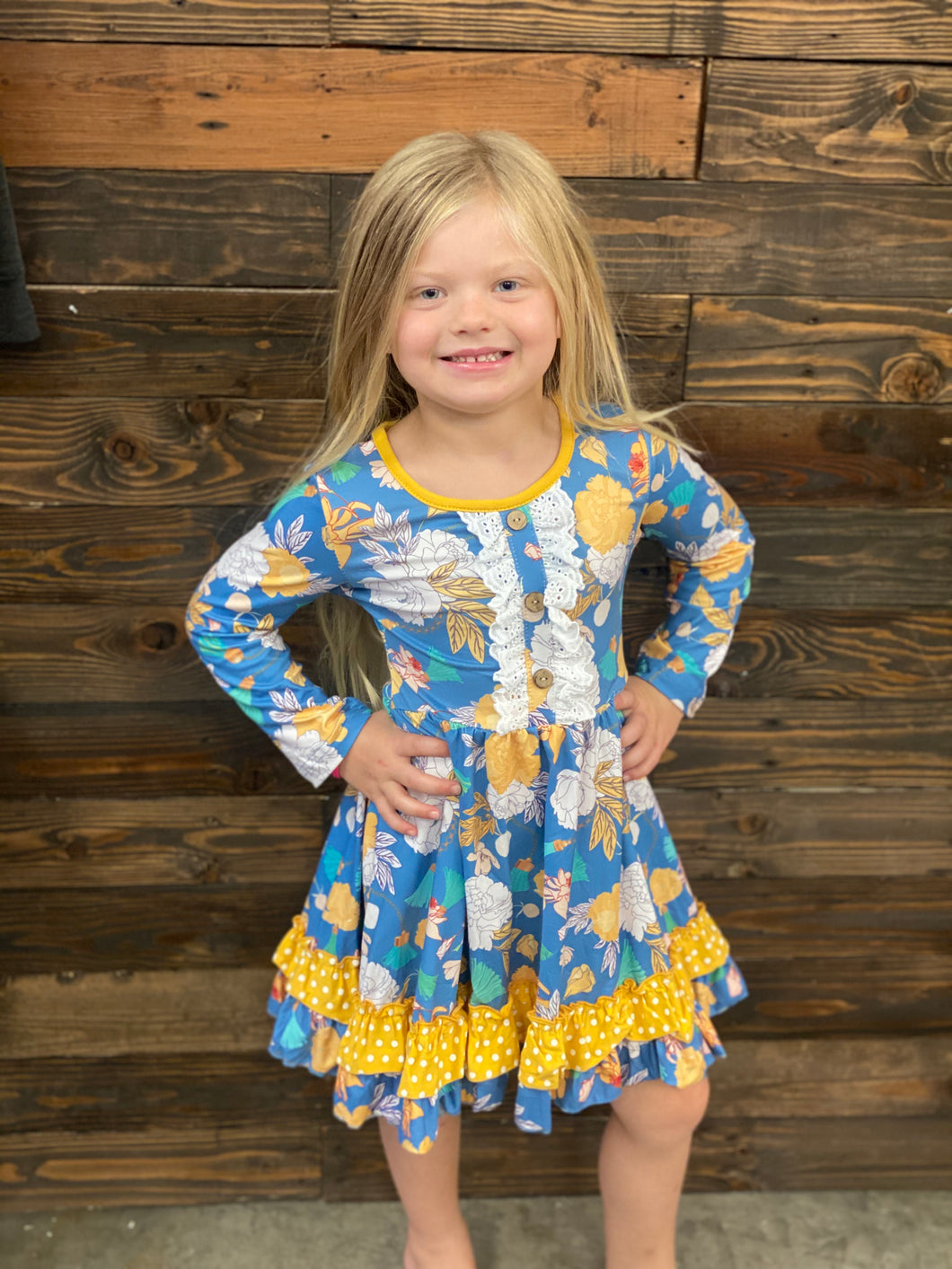 Kids Blue Mustard  Dress