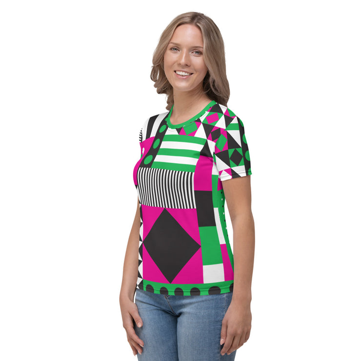DAZZLING PINK&GREEN TEE FOR WOMEN