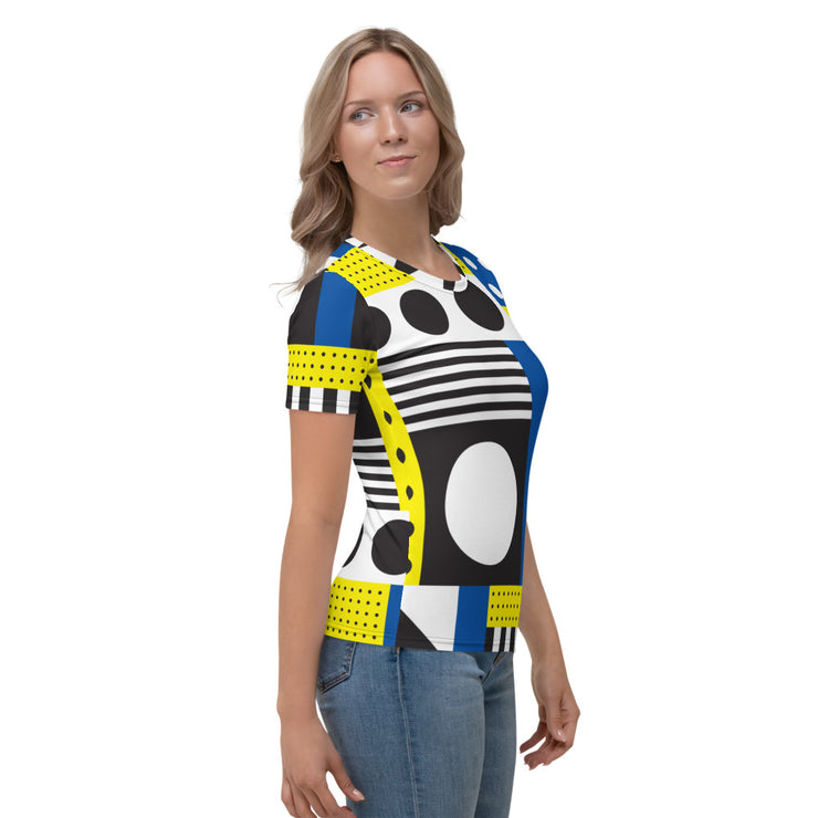 DAZZLING BLUE&YELLOW TEE FOR WOMEN