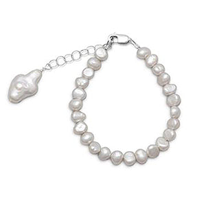 "5"" Cultured Freshwater Pearl Bracelet with Pearl Cross"
