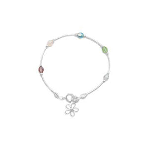 "5.5""  Bracelet with Multicolor Crystals and Flower Charm"