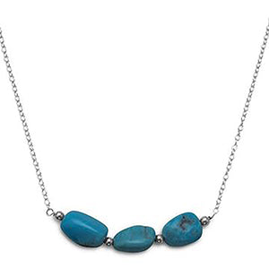 Handmade Reconstituted Turquoise Nugget Bar Necklace
