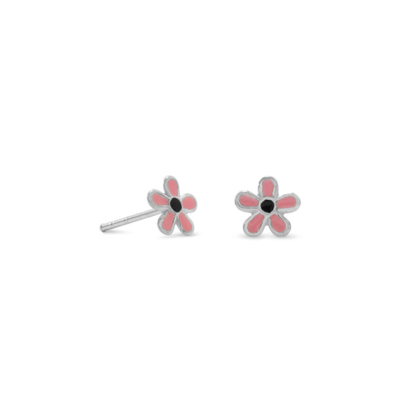 Pink/Black Enamel Flower Earrings