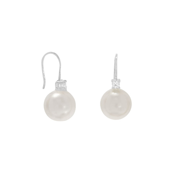 Simulated Pearl and CZ Wire Earrings