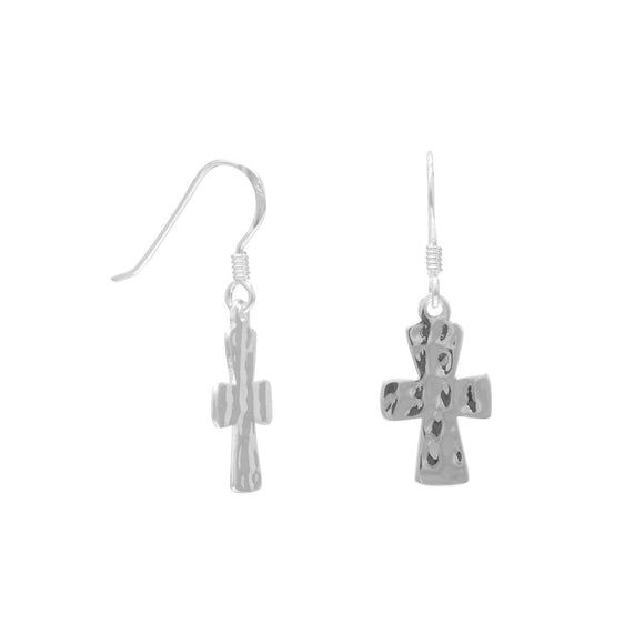 Hammered Cross French Wire Earrings