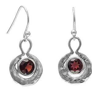 Oxidized Round Hammered Earrings With Garnet (January)