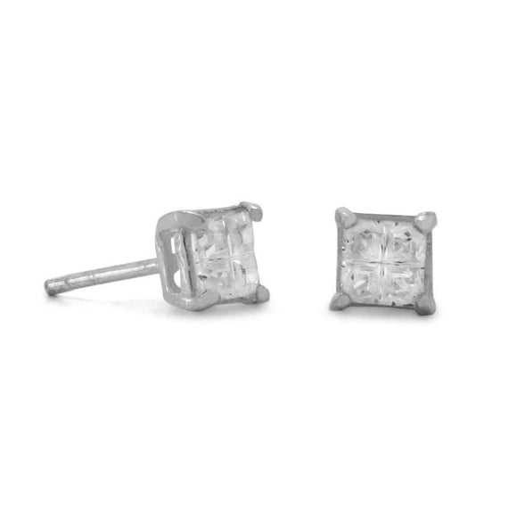 4mm 4 Cut Square CZ Earrings