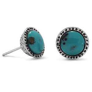 Oxidized Stabilized Turquoise Stud Earrings (December)