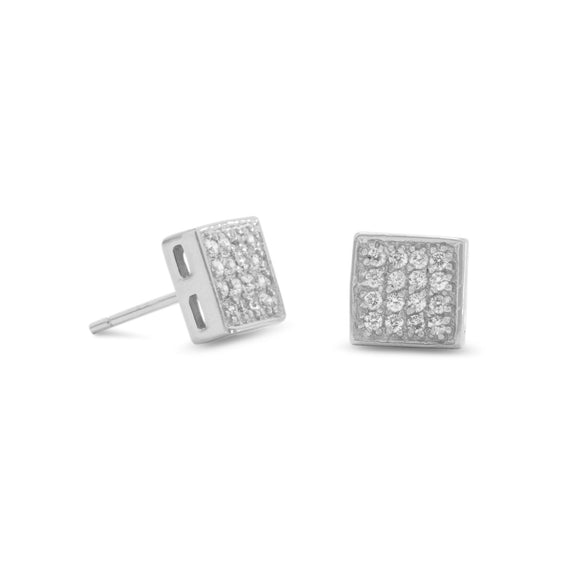 Rhodium Plated Square Pave CZ Earrings