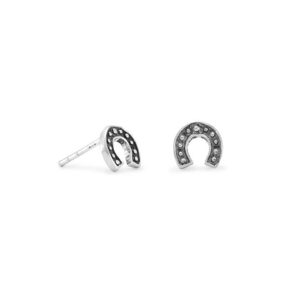 Oxidized Horseshoe Stud Earrings