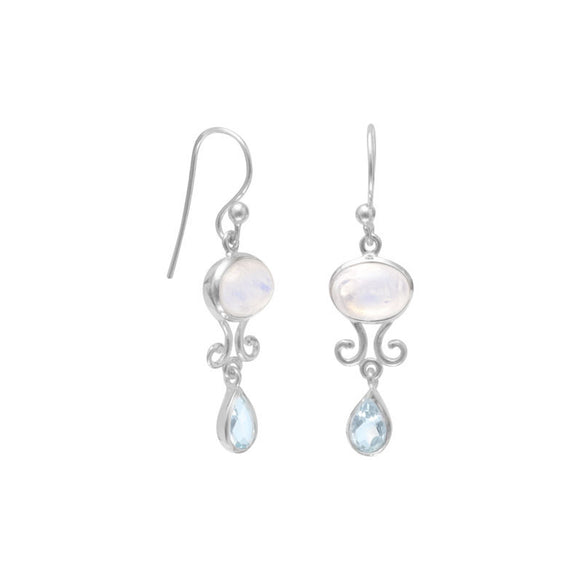 Rainbow Moonstone and Blue Topaz Drop Earrings