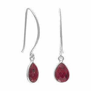 Corundum Drop Wire Earrings