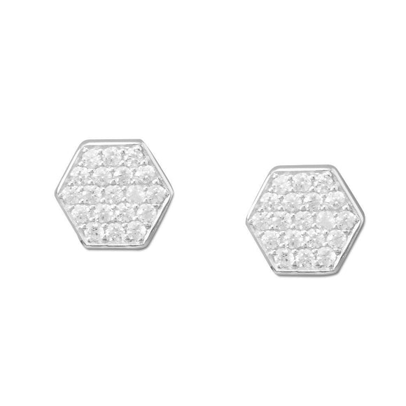Rhodium Plated Pave CZ Hexagon Earrings
