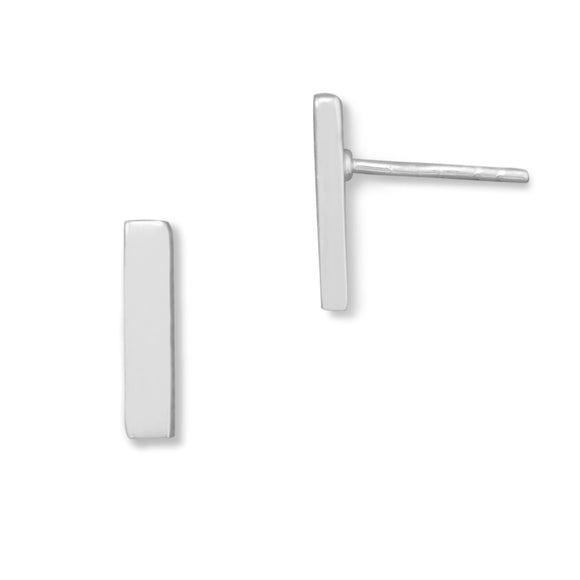Silver Bar Stud Earrings