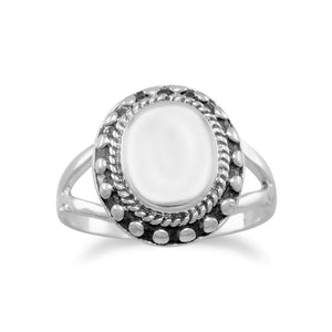 Oval  Ring with Bead Edge