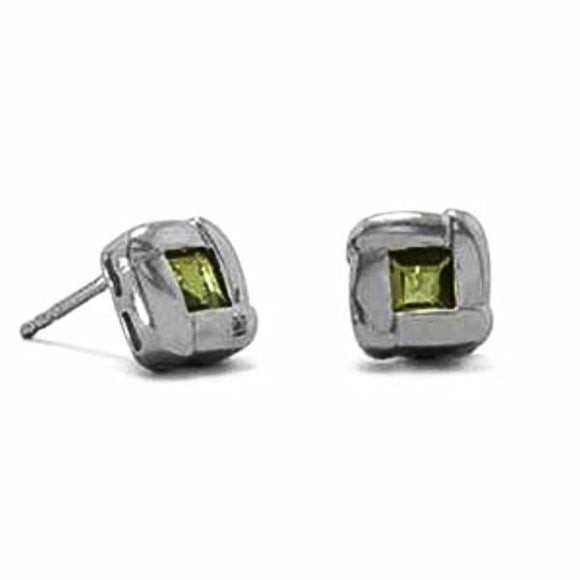 Oxidized Peridot Post Earrings (August)
