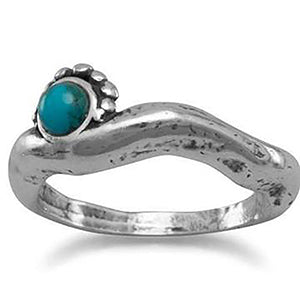 Oxidized Reconstituted Turquoise Ring (December)