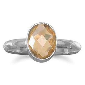 Faceted Citrine Stackable Ring (6-9) November