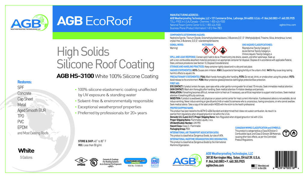 AGB High Solids Silicone 3000 5 Gallon Bucket - AGB Weatherproofing Technologies, LLC