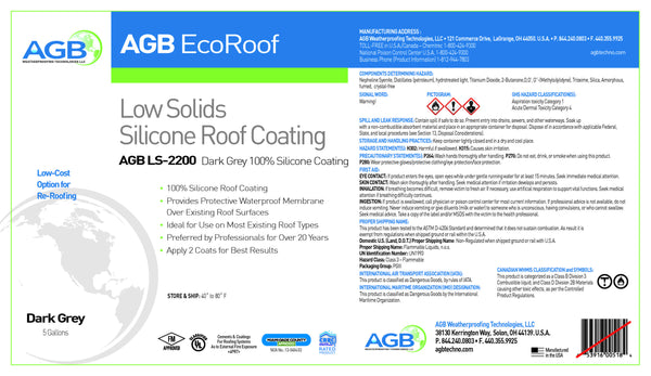 AGB Low Solids Silicone 2000 5 Gallon Bucket - AGB Weatherproofing Technologies, LLC
