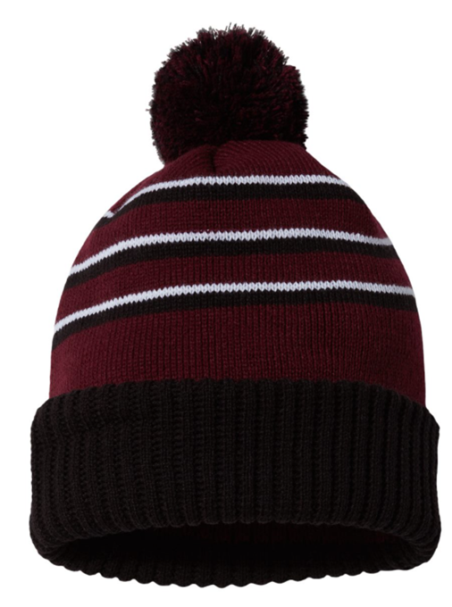Maroon/Black/White Striped Knit Pom-Pom Hat