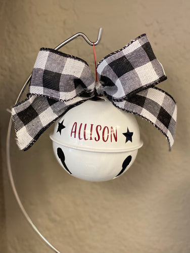Jingle Bell Ornament with Buffalo Check Bow ~ Personalized