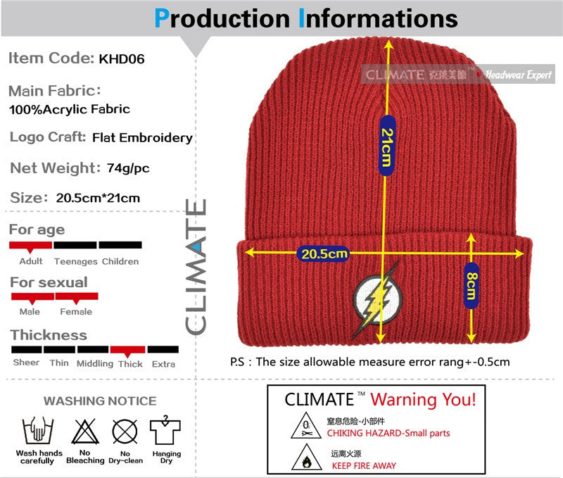 57742d4eacfa5 ... CLIMATE 2017 Hot The Flash Hero Barry Allen Embroidery Winter Hats Soft  Solid Beanie Men Women ...