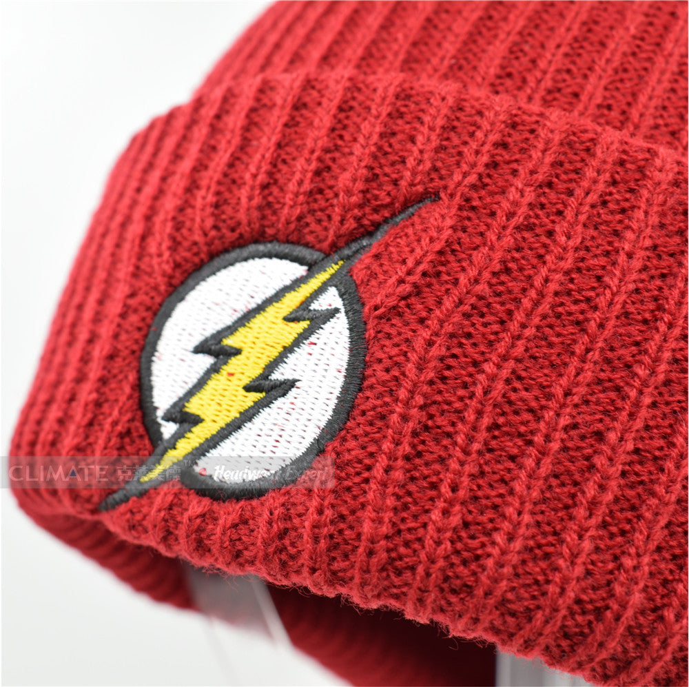 e0d5ba354df CLIMATE 2017 Hot The Flash Hero Barry Allen Embroidery Winter Hats Soft  Solid Beanie Men Women