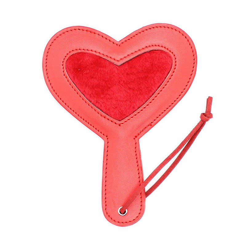 Heart Shaped Leather Paddle - Red