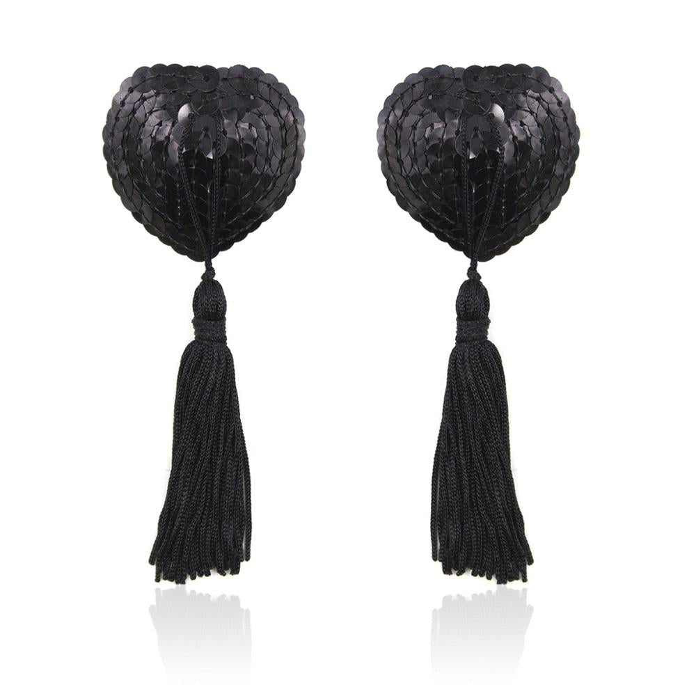 SEQUINED NIPPLE COVERS WITH TASSEL