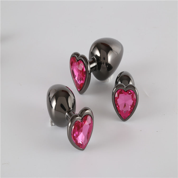 The Room Of Doom's - 3 Space Grey, Heart Shaped Jewelled Butt Plugs - Ruby Red