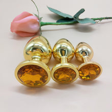 The Room Of Doom's - 3 Gold, Jewelled Butt Plugs - Ruby Red
