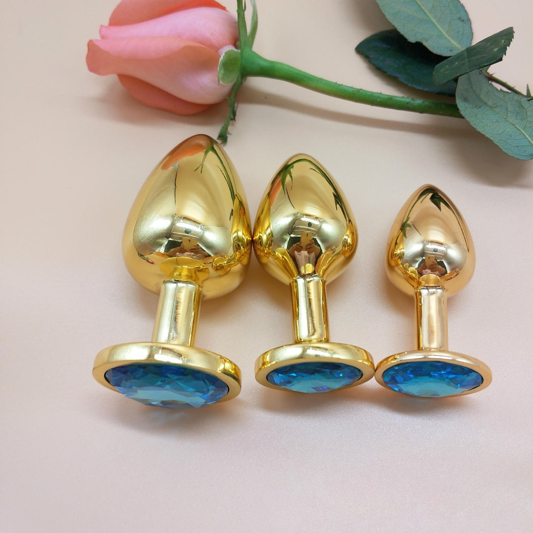 The Room Of Doom's - 3 Gold, Jewelled Butt Plugs - Tantalising Turquoise