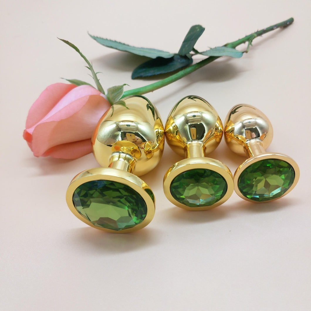 The Room Of Doom's - 3 Gold, Jewelled Butt Plugs - Emerald Green