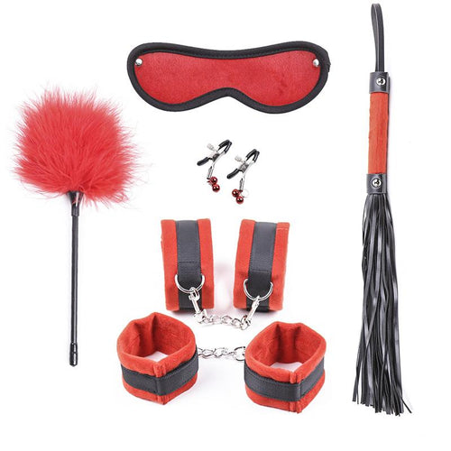 Sex Toys 6 PCS Bundled Toy Black-Red Nipple Clip, Feather Whip, Handcuff and Anklecuff Combination