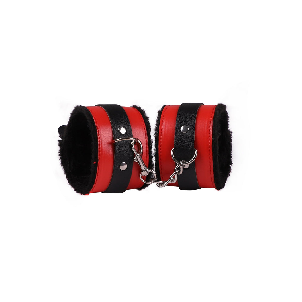 Customized Acceptable Leather Plush Sex Handcuffs Anklecuffs set For SM Games