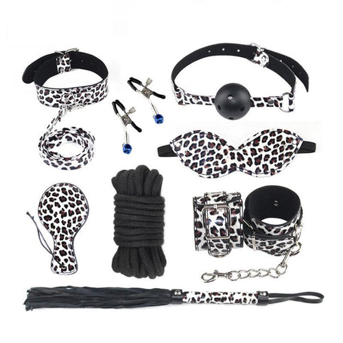 Sexy Leather White Leopard 8-Piece Set Bundle Bondage Leather Whip, Grip and Clip