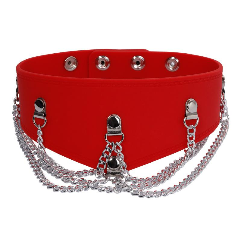 Red Silicone Collar with Chain Detail