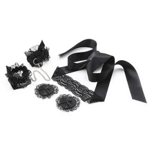 Set Black Lace Three-Piece Suit (Eye Mask Handkerchief Nipple) Binding Toy Adult Couple Passion Flirting Sex Toys