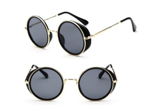 Steampunk Round Lensed Sunglasses With Protective Carry Case - Health & Beauty - www.fastdeals.co.uk